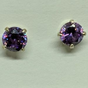 Jewelry - Sterling Silver Sparkly Purple Stone Stud Earrings